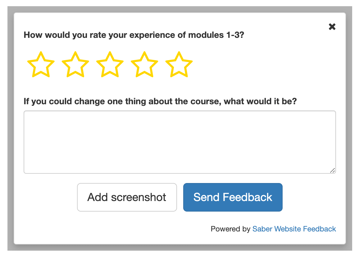 feedback form with star rating